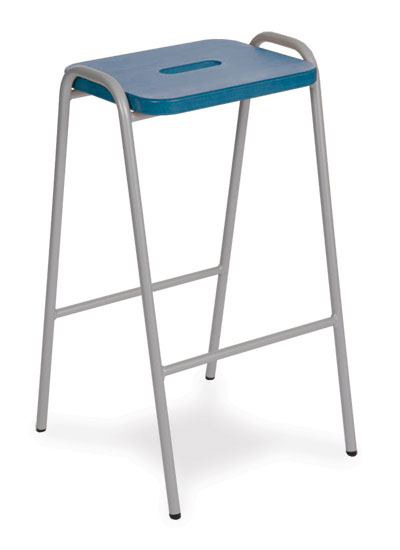 wooden top stool blue