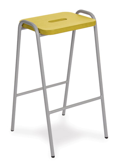 wooden top stool yellow