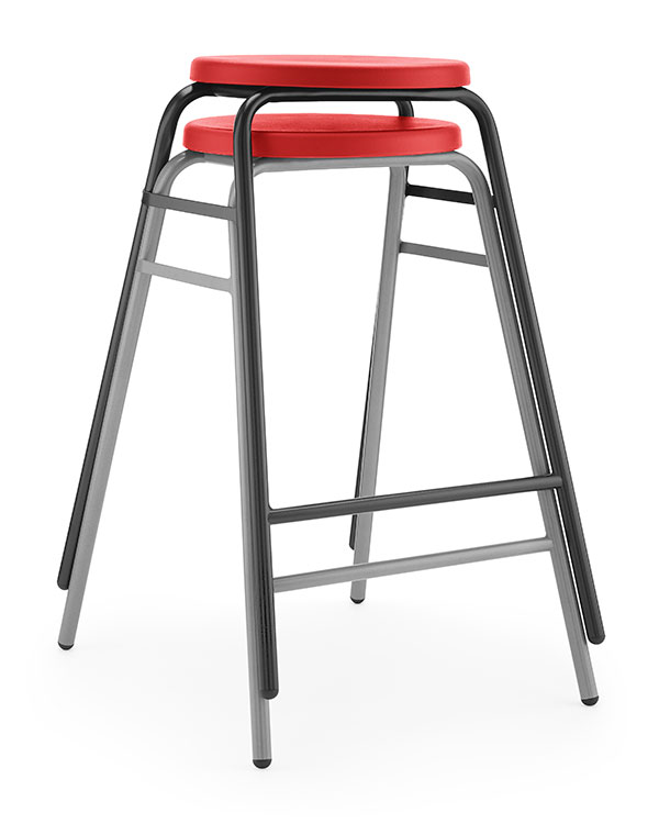 Round Top Stool 3 red