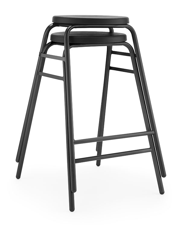 Round Top Stool 4 black