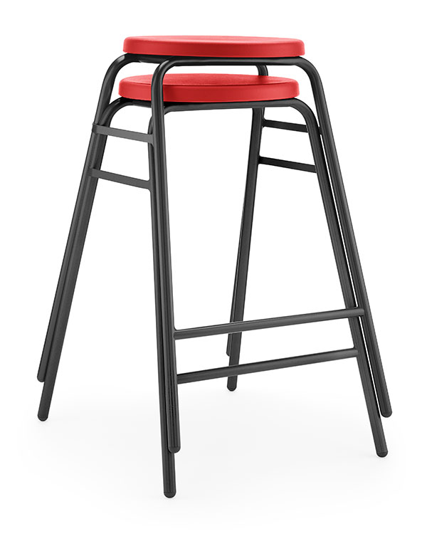 Round Top Stool 4 red