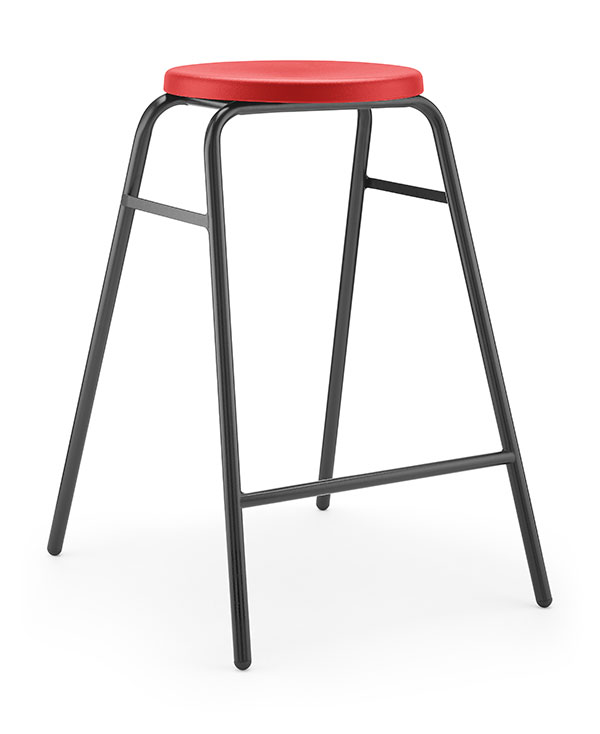 Round Top Stool 2 red