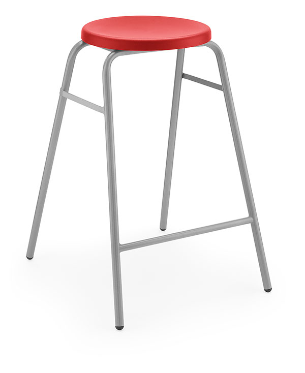 Round-Top-Stool-3qf-Grey-Frame-Angle-2-Red