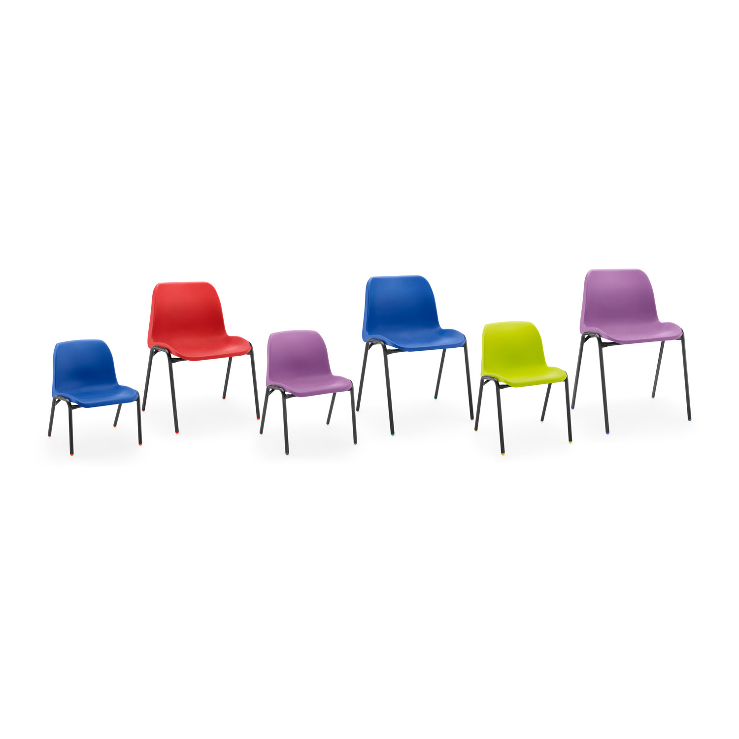 affinity chair group of 6 blue red lime purple