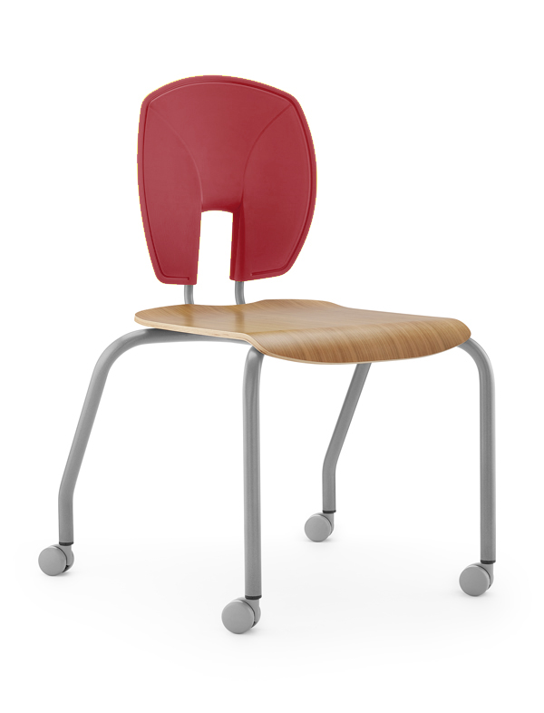 Se Motion Stacking Chair Cherry Seat Front indianred