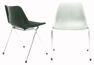 retro black and white polyside chairs